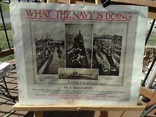 """PRINT OF WWII NAVY RECRUITMENT POSTER NAMED """"WHAT THE NAVY IS DOING"""" SUB-MARINER"""