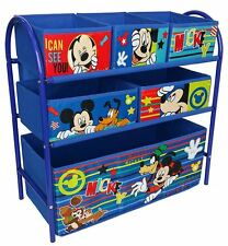 Disney Mickey Mouse Kids Bedroom Storage Metal Frame Multi Bin NEW Toy Organiser