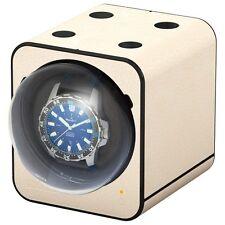 Boxy Fancy Brick Uhrenbeweger, hochwertige Ledernachbildung, Creme, Mit Adapter