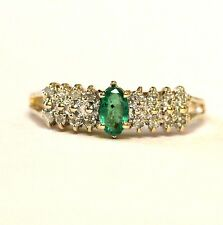 10k yellow gold .10ct SI2 H womens diamond green emerald ring band 2.1g sz 6.75