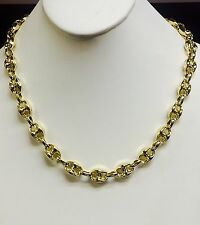 """14k Yellow Gold Men's Puffed Anchor Mariner 24"""" chain/necklace 11 MM 30 grams"""