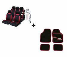 9 PCE Sports Carnaby Red / Black CAR Seat Covers + Matching Mat Set For Peugeot