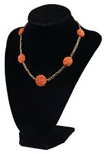 Beautiful 14 Karat Gold Chinese Necklace / Choker w/ Carved Coral Flowers