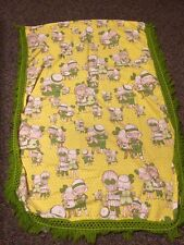 Adorable Vintage Cloth Child Blanket With Crochet Trim