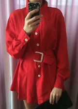Vintage Karl Lagerfeld Red Pure Silk Mini Shirt Dress Uk 10 Italy 42 Vgc