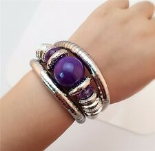 New Charm Purple Color Jade Stone Beads Bracelet Gift Punk Vintage Silver Bangle