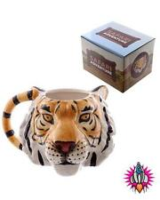 TIGER HEAD 3D STYLE SAFARI ANIMALS COFFEE MUG CUP NEW IN GIFT BOX