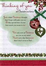 Thinking Of You At Christmas Time Greeting Card Traditional Cards Lovely Verse