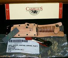 Camillus Survival Fighting Knife US Pilots Knives W/Box, Sheath,Sharpening Stone