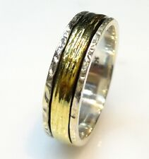 925 STERLING SILVER 5 GRAM BEAUTIFUL HAMMER SPINNER RING US SIZE 10  BRASS BAND