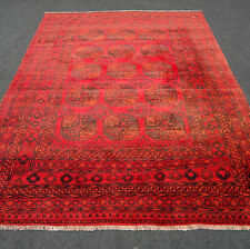 Orient Teppich Afghan 262 x 203 cm Alt Andkhoi Rot Perserteppich Red Carpet Rug
