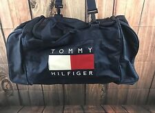 Tommy Hilfiger Vintage Spell Out Navy Blue Nylon Duffle Gym Bag X-Large Vtg 90's