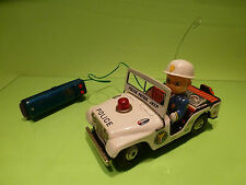 TIN TOYS BLECH JAPAN - JEEP CJ5 - POLICE PATROL - RARE - GOOD CONDITION (RC)