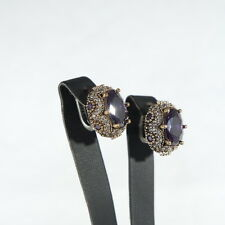 CLASSIC! TURKISH HANDMADE AMETHYST EARRING STERLING SILVER 925K AND BRONZE