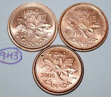 Canada 2006, 2006L Steel, 2006L Zinc 1 Cent  One Canadian Penny Coin Lot #943