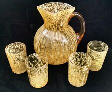 Antique Northwood Amber & Opal Spatter Pitcher & 4 Tumblers EAPG