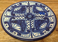 """Mexican Pottery Talavera Plate Wall Decoration Blue White Floral #C 12"""" Vintage"""