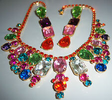 AMAZING VTG JULIANA MULTI COLOR CRYSTAL RHINESTONE NECKLACE EARRING SET PARURE