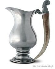 Vagabond House - Classic English Style Pewter Pitcher with Natural Antler Handle