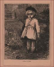 Boy Going to School Afraid of FROG, antique engraving, original 1883
