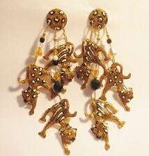 Lunch at the Ritz 1980's Leopard & Tigers Cat Drop Dangle Post Earrings