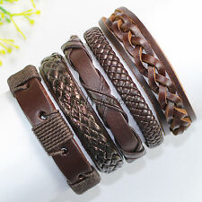 5pcs Cuff Wrap Multilayer Genuine Leather rope Bracelet Fashion with charms-F84