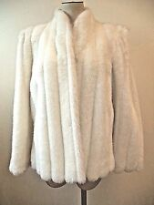 INTRIGUE BY GLENOIT Jacket Coat White Lined Faux Fur Union Made Vintage Sz 9