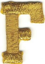 "1"" Tall Bright Metallic Gold Monogram Block Letter F Embroidery Patch"