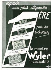 """Publicité Ancienne """" Montres Wyler  """" 1933 ( P. 36 ) Dam"""