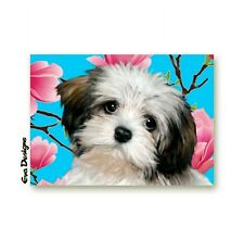 HAVANESE DOG PUPPY PINK MAGNOLIA BLOSSOMS PET ART GIFT PRINT CARD ACEO