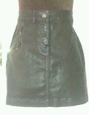 NEXT Dark Brown Shiny Denim Jeans Mini Skirt uk12 us8 eu38 Waist w30ins w76cms