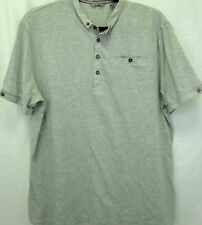 Ted Baker Polo Shirt Large Gray Cotton Blend NO SIZE TAG SEE MEASUREMENTS Mens