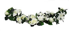 "35"" Swag ~ WHITE LILIES ROSES ~ Centerpiece Silk Wedding Flowers Arch Decoration"