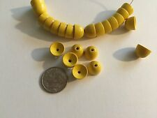 50 pcs Vintage West German Natural Wood Dyed Yellow Round Dome Beads, Caps, Ends