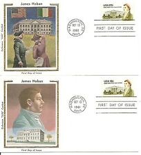 US SC# 1935-1936 James Hoban FDC.2 Covers Set, Colorano Silk  Cachet.