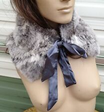 natural grey off white real genuine rabbit fur pelt collar scarf satin lining