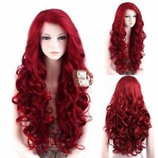 Glamour Lace Front Wig Long Wavy Dark Red Heat Resistant Hair Wig