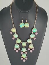 Gold Green and Gray Faux Opal FASHION Necklace Set