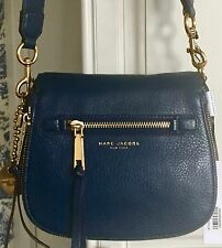 MARC JACOBS $375 Recruit Small Saddle Bag Crossbody Leather Navy Blue NWT