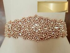 "Wedding Sash Belt - ROSE GOLD Crystal Sash Belt = 12 1/2"" long = IVORY SATIN"