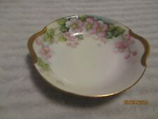ANTIQUE LIMOGES T&V HAND PAINTED BOWL DISH HEAVY GOLD PINK PANSIES ?