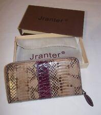 New Women Wallet Zip Around Snakeskin Leather 7.5'' x 4'' Alligator Wine Red N