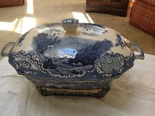 LARGE Johnson Brothers Old Britain Castle Blue  Soup Tureen/with Lid British 16""