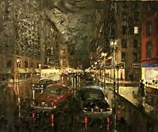 New York City Times Square Auto Street Scene oil Painting Jack Prudnikov 1960's