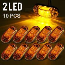 "10Pcs Amber LED Lamp2.5"" 2 Diode Oval Clearance Trailer Truck Side Marker Light"