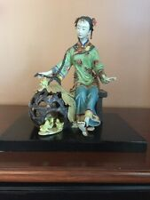 Chinese Porcelain Lady Figurine Sitting With Basket Of Chickens