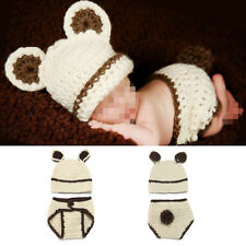Newborn Baby Knit Crochet Beanie Hat Beige Bear Costume Photography Props Outfit