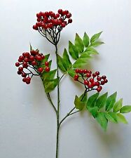 "24"" Christmas Red Fruit Berry stem. Silk Flower arrangements. floral"