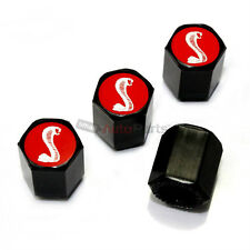 4 Ford Mustang Cobra Shelby Red Logo Black ABS GT500 Tire/Wheel Stem Valve CAPS