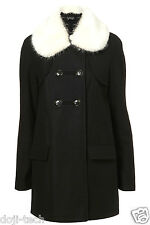 BNWT Topshop Black Wool Cream Fur Peter Pan Vtg Swing Winter Pea Coat 6 34 2 XS